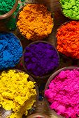 stock photo of pigment  - Colorful finely powdered Indian pigments in beautiful colours - JPG