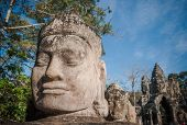 Head Of Gate Guardian, Angkor, Cambodia