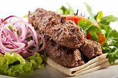 image of kebab  - Lamb Kebab with Salsa Sauce - JPG