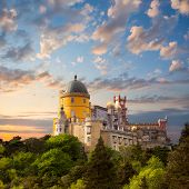 Fairy Palace against beautiful sky /  Panorama of Pena National Palace in Sintra, Portugal / Europe