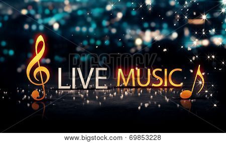 Live Music Gold Silver City Bokeh Star Shine Blue Background 3D poster