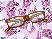 Reading Glasses On Five Hundred Euro Background