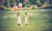 Girls Twin Sisters With Balloons In The Summer