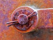 Old Rusty Shackle Of Mechanical Device