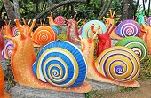 The Synthetic Giant Snails As Garden Decoration In Nong Nooch