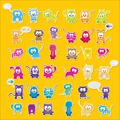 vector cartoon cute cats set
