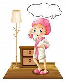 Illustration of a girl in bathrobe thinking