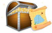 Illustration of a treasure box and a map
