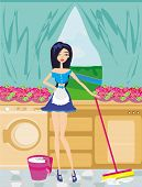 Maid Cleans The Kitchen