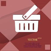 Shopping basket. Flat modern web design on a flat geometric abstract background