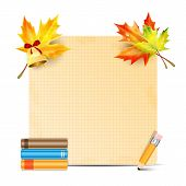 Sheet Of Paper Decorated With Autumn Leaves Of Maple And School Supplies Isolated On White Backgroun