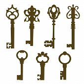 set of vintage door keys silhouette
