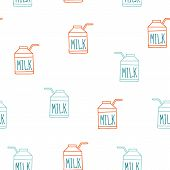 Seamless Background Pattern With Milk Carton Cute Sketch Style
