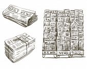 Press. Newspaper stand. Newsstand. Vector illustration. Hand drawn.