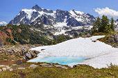 Mount Shuksan Blue Snow Pool Artist Point Washington State Usa