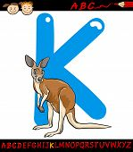 Letter K For Kangaroo Cartoon Illustration