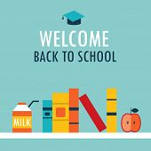 Welcome Back To School Background Book Shelf With Books Milk And Apple