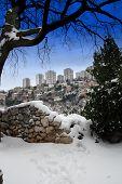 Scyscraper And Snow In Rijeka,croatia