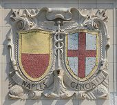 Mosaic shields of renowned port cities Naples and Genoa  at the facade of US Lines Building