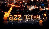 Jazz Festival Saxophone Gold City Bokeh Star Shine Yellow Background 3D