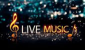 foto of pop star  - Live Music Gold Silver City Bokeh Star Shine Blue Background 3D - JPG