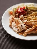 Plate With Meat And Pasta, Salad, Fried Chicken As Food For Breakfast Or Dinner Or Supper