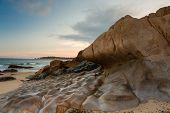 Wave rocks at Co Thach beach, Binh Thuan , Vietnam in sunset