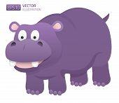 Smiling hippopotamus illustration