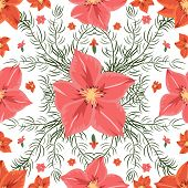 foto of gladiolus  - Illustration of seamless floral pattern with pink and red gladioluses isolated - JPG