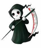stock photo of grim-reaper  - Cute cartoon grim reaper with scythe isolated on white - JPG