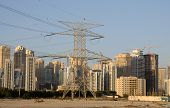 Power Pole And Skyline Of Dubai