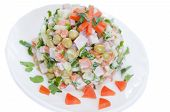 A Delicious Salad With Mayonnaise Isolated On A White Background