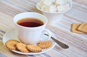 Black Tea With Cookies And Lump Sugar