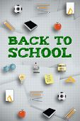 Back to school message against digitally generated grid paper strewn