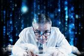 Focused businessman against lines of blue blurred letters falling