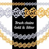 Set of chains metal brushes - gold and silver roses. vector.