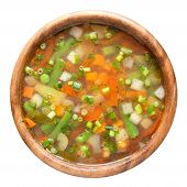Vegetable Soup In Wooden Bow