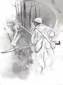Soldier With A Rifle In The Woods - Hand Drawn Picture