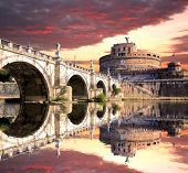 Angel Castle with bridge on Tiber river in Rome, Italy