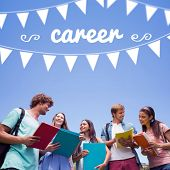 The word career and bunting against students standing and chatting together