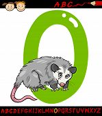 Letter O For Opossum Cartoon Illustration