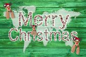 Merry Christmas Text For Around The World With Map Or Globe In Green, Red And White Colors.