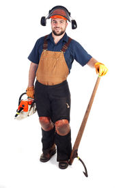 stock photo of man chainsaw  - a man holding a chainsaw and a log peavy - JPG