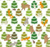Seamless green pattern with winter trees and forest animals