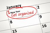 An image of a calendar detail shows first of January with the text get organized