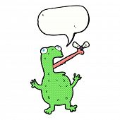 cartoon frog catching fly with speech bubble