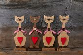Four Valentines Love Wooden Cat Shapes With Red Heart Decoration