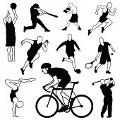 Set of sports icons: basketball, football, baseball, boxing, running, tennis, soccer, gymnastics, golf, biker
