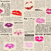 Imitation of newspaper with the lips prints