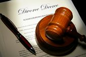 pic of divorce-papers  - Divorce papers and pen with judge - JPG